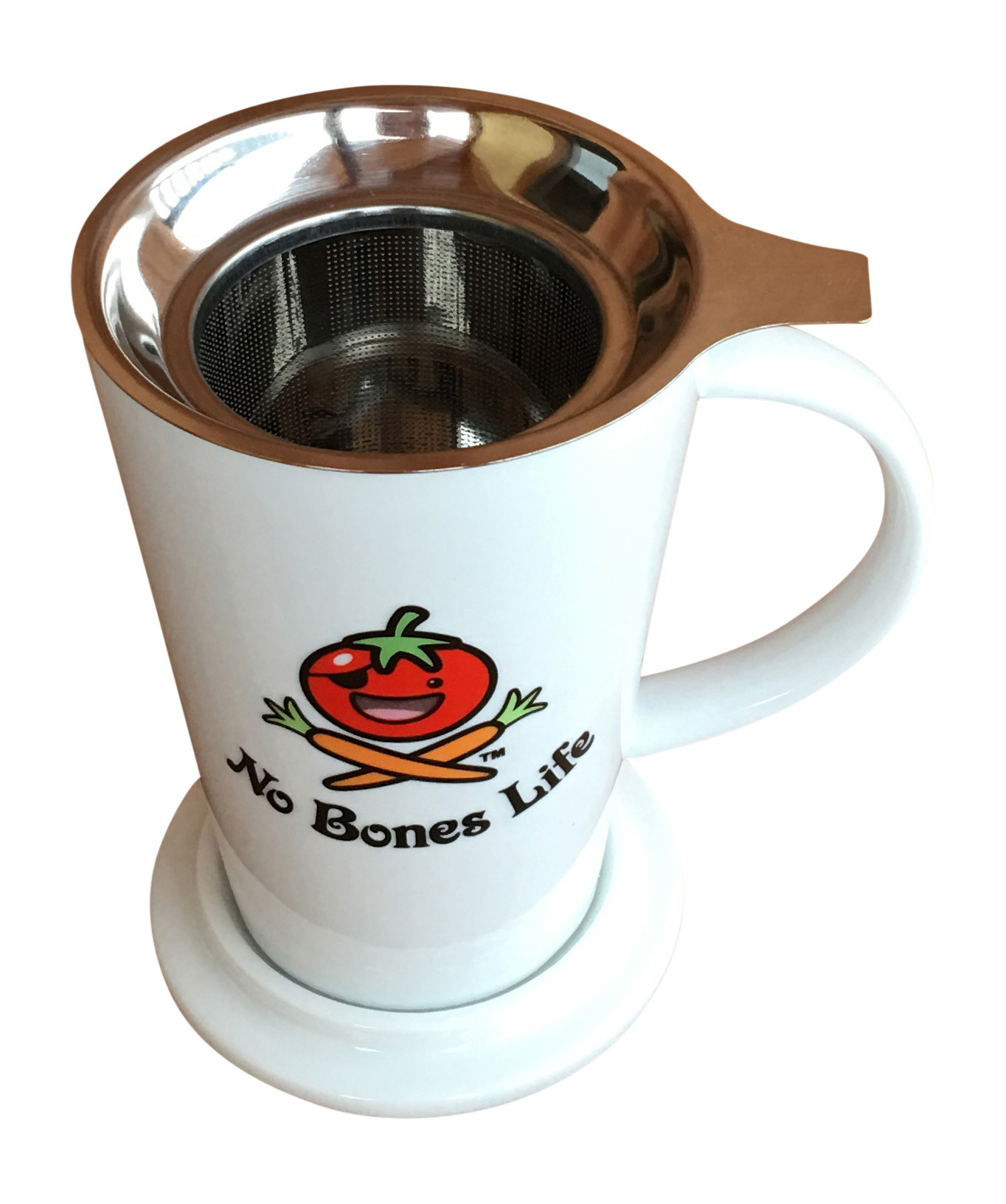 porcelain mug with stainless steel infuser