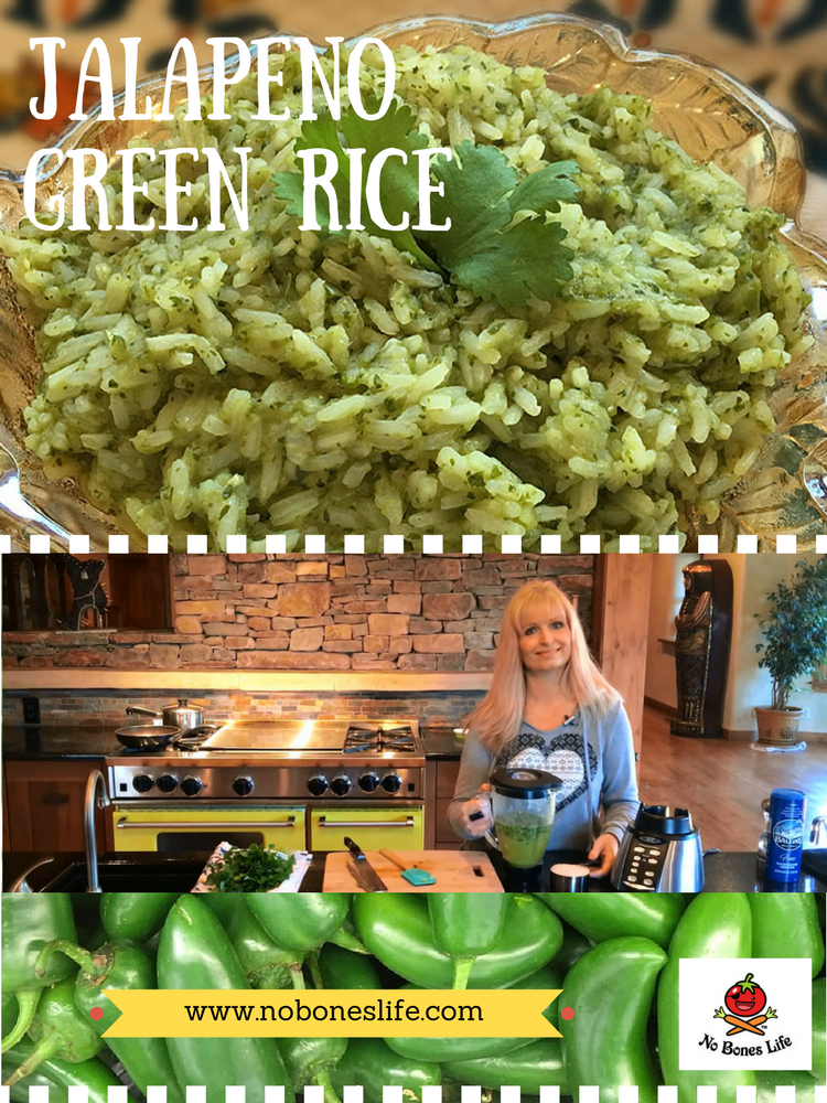 Jalapeno green rice. Mild or spicy this is a great side dish or as a component of other dishes such as burritos or tostadas