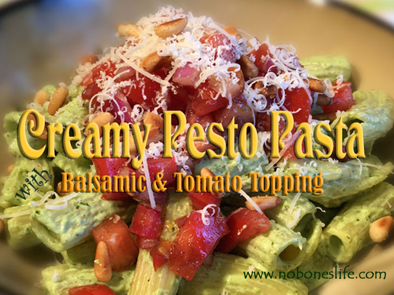 Pesto Pasta with Balsamic & Tomato Topping
