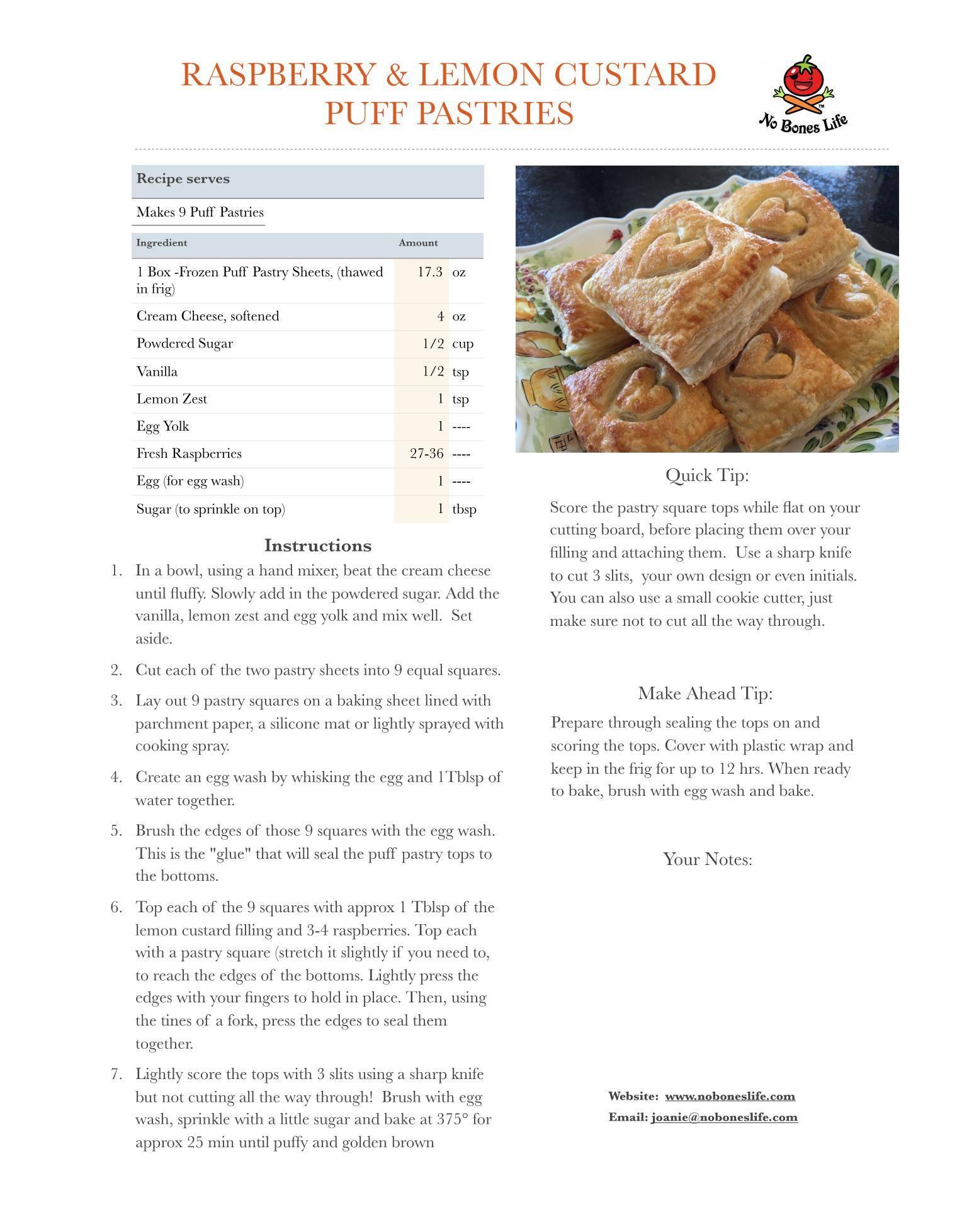 raspberry lemon custard puff pastry