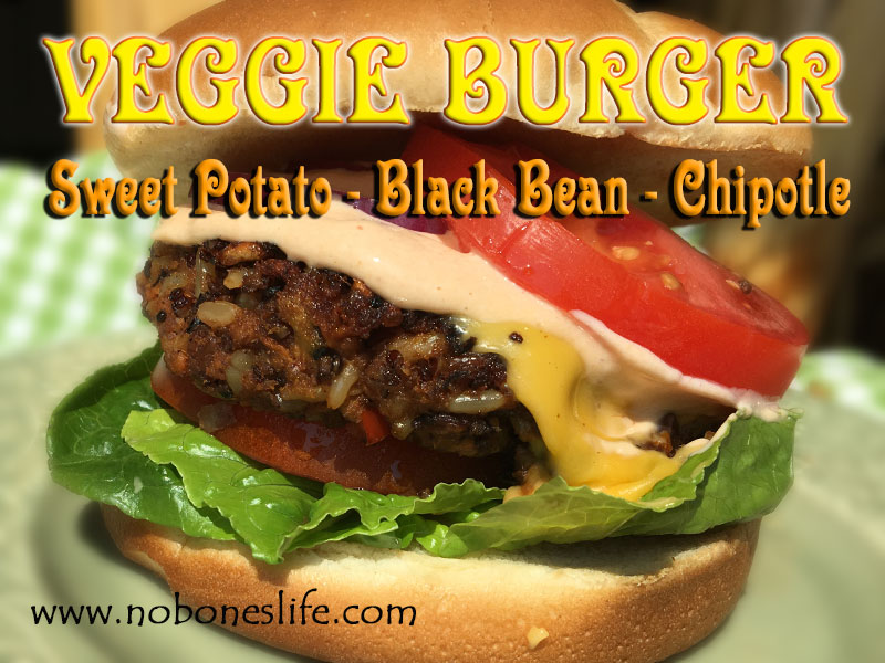 Veggie Burger with Sweet Potato black bean and Chipotle