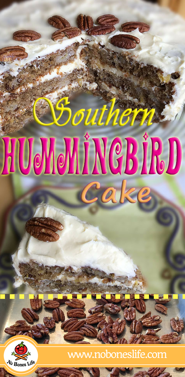 Southern Hummingbird Cake. A version of the Southern dessert from Southern Living-1978. Layers of Banana, Pineapple & Pecan cake with a fluffy cream cheese frosting.