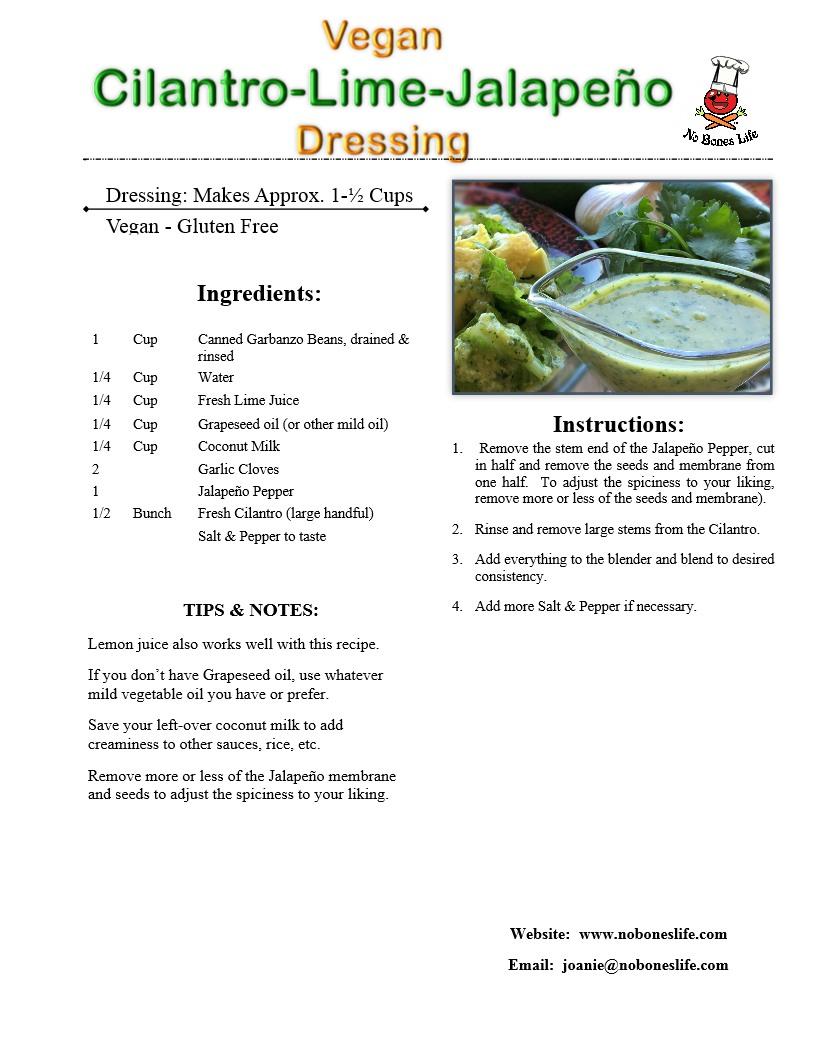 cilantro lime jalapeño recipe page