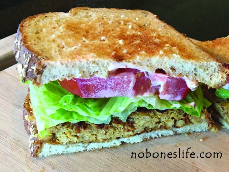chickpea blt sandwich half